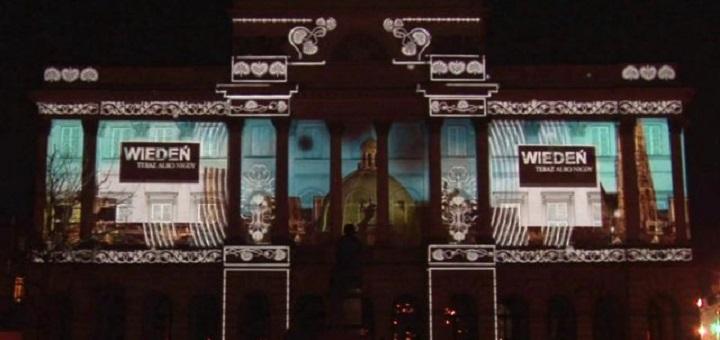 Ekologiczny mapping 3D na Pałacu Staszica
