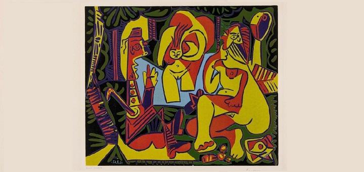 Pablo Picasso, Le Déjeuner sur l'herbe d'après Manet, 1962, linoryt barwny nr inw. Gr.W.O.370 MNW, © Succession Picasso